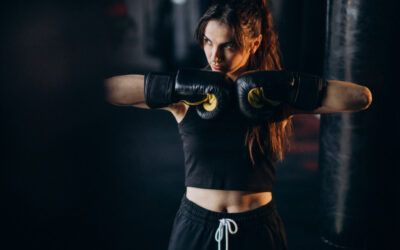 THIS BOXING PLATFORM USES RHYTHM TECH, LIKE DANCE DANCE REVOLUTION, TO MAKE WORKOUTS MORE CHALLENGING!